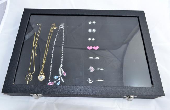 schmuckkasten schmuckk stchen schmuckkoffer kettenhalter halsketten schwarz neu ebay. Black Bedroom Furniture Sets. Home Design Ideas